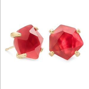 KENDRA SCOTT Red Stud Earrings